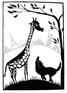 Wolf und Giraffe, Scherenschnitt von Angela Kiesewetter-Lorenz